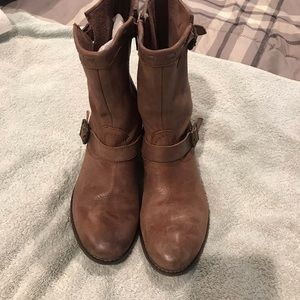 J Jill Brown Leather Ankle Boots Sz 7
